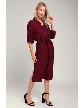 Brewer Plum Purple Midi Shirt Dress by Lush