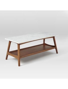 Reeve Mid Century Coffee Table Rectangle , Marble/Walnut by West Elm