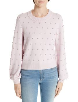 Imitation Pearl Embellished Wool Sweater by Milly