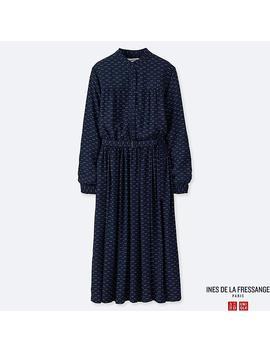Women Georgette Gathered Long Sleeve Dress (Ines De La Fressange) by Uniqlo