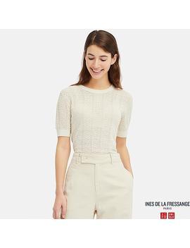 Women Pointelle Crew Neck Short Sleeve Sweater (Ines De La Fressange) by Uniqlo