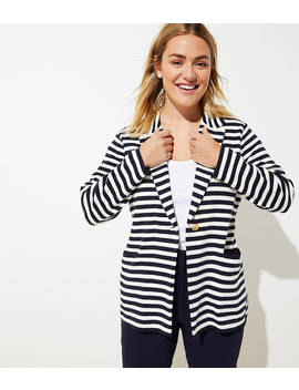 Loft Plus Striped Sweater Blazer by Loft