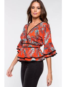 Britany Contrast Tropical Surplice Top by A'gaci