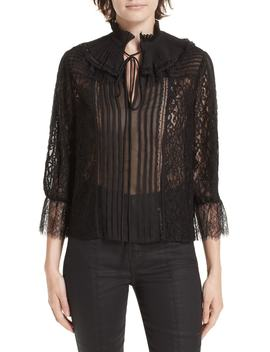 Pauletta Pleated Floral Lace Blouse by Alice + Olivia