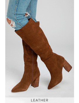 Serve Chestnut Suede Leather Knee High Boots by Steve Madden