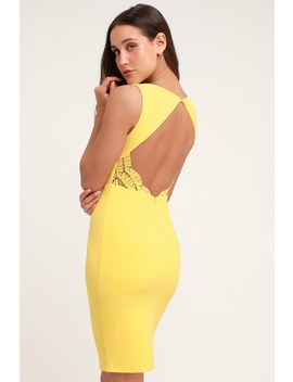 Speak Sweetly Yellow Lace Bodycon Backless Midi Dress by Lulus