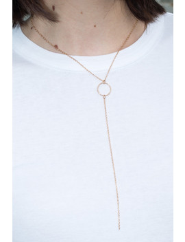 Gold Circle Charm Drop Necklace by Brandy Melville