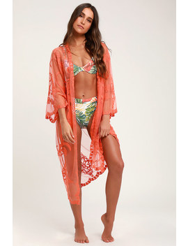 Cherish Coral Sheer Embroidered Mesh Kimono by Lulus