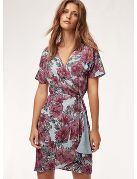 Wallace Dress   Short, Flowy, Floral Wrap Dress by Babaton
