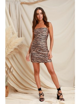 Nocturnal Animal Nude Zebra Print Satin Mini Dress by Lulus
