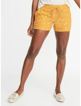 Mid Rise Daisy Print Linen Blend Shorts For Women   4 Inch Inseam by Old Navy