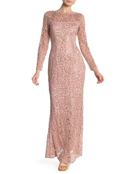 Lace Sequined Long Sleeve Dress by Marina