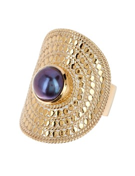 Gold Vermeil 8mm Pearl Shield Ring by Anna Beck