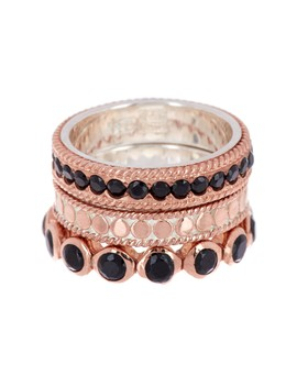 Rose Gold Vermeil Black Onyx Ring Set   Set Of 3 by Anna Beck