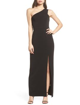 One Shoulder Crepe Column Gown by Vince Camuto