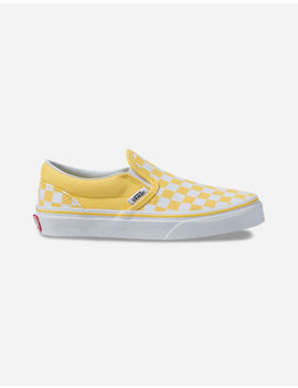 Vans Checkerboard Classic Slip On Aspen Gold & True White Kids Shoes by Vans