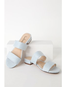 Devin Blue Suede Slide Sandals by Lulus