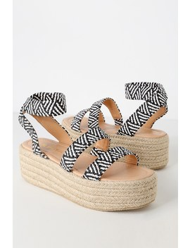 Jessi Black And White Espadrille Flatform Sandals by Lulu's