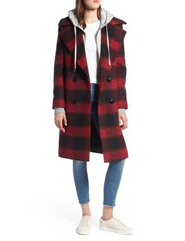 Double Breasted Plaid Wool Blend Coat by Kendall + Kylie
