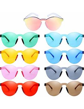 Blulu Round Rimless Sunglasses Tinted Eyewear Transparent Candy Color Sunglasses by Blulu
