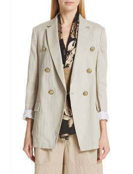 Chevron Weave Cotton & Linen Jacket by Brunello Cucinelli