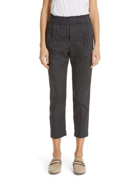 Chevron Weave Stretch Cotton & Linen Pants by Brunello Cucinelli