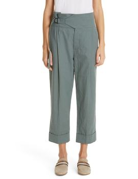 Belted High Waist Linen & Cotton Pants by Brunello Cucinelli
