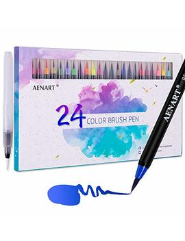 Aen Art Watercolor Real Brush Pens Set, 24 Colors Flexible Nylon Brushes Tip Painting Markers For Calligraphy, Lettering, Drawing And Sketching With Water Brush For Artists And Beginner Painters by Aen Art