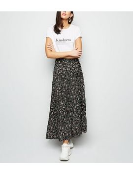 Black Floral Tiered Maxi Skirt by New Look