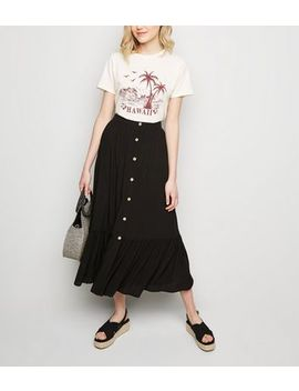 Black Button Up Tiered Midi Skirt by New Look