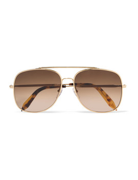 Navigator Aviator Style Gold Tone Sunglasses by Victoria Beckham