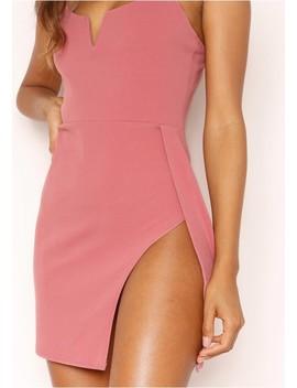 Olivia Blush Bodycon Split Mini Dress by Missy Empire