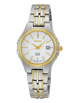 Watch, Women's Solar Two Tone Stainless Steel Bracelet 28mm Sut038 by Seiko