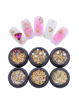1 Pc Gold Moon Star Metal Nail Studs Colorful Clear Rhinestone Pearl Diy 3 D Nail Art Decoration by Born Pretty