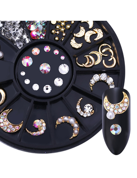 1 Box Gold Colorful Clear Nail Rhinestone Flat Bottom Nail Art 3 D Decoration In Wheel by Born Pretty