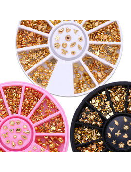 12 Patterns/Box Gold Plated Metal Studs 3 D Nail Decoration Manicure Nail Art Decoration by Born Pretty