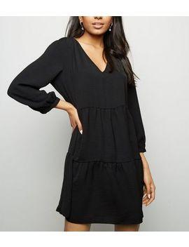 Petite Black Herringbone Smock Dress by New Look