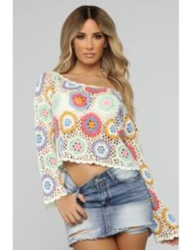 Floral Crochet Top   White Combo by Fashion Nova