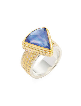 Anna Beck Jewelry Triangle Wide Lapis Triplet Single Ring by Anna Beck