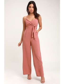 Dorado Rusty Rose Tie Front Wide Leg Jumpsuit by Lulus