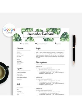 Resume Template Google Doc, Google Docs Resume + Cover Letter With Watercolor Monstera Leaves Greenery Illustration, Nature Botanical Resume by Etsy