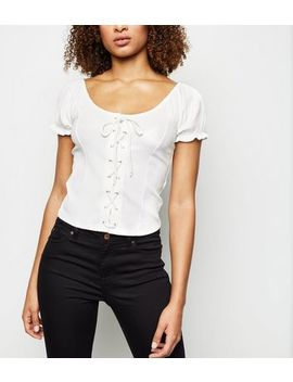 Off White Lattice Front Top by New Look