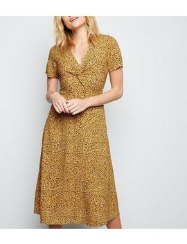 Yellow Animal Print Knot Front Midi Dress by New Look