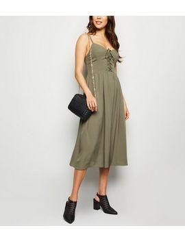 Khaki Lattice Front Midi Dress by New Look