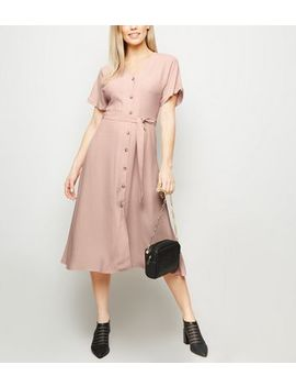 Pink Button Front Tie Waist Midi Dress by New Look