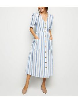 Cameo Rose White Stripe Button Midi Dress by New Look