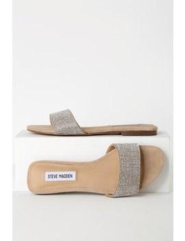 Bev Beige Suede Rhinestone Slide Sandals by Steve Madden