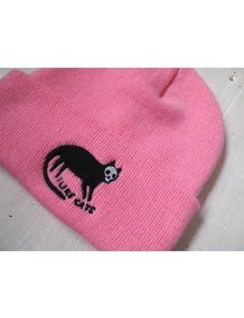 Cat Embroidered Beanie Hat   Skull Cat   Cat Hat   Embroidered Beanie Hat   Beanie   Hat   Black Cat   I Like Cats   Cats   Pink Beanie Hat by Etsy