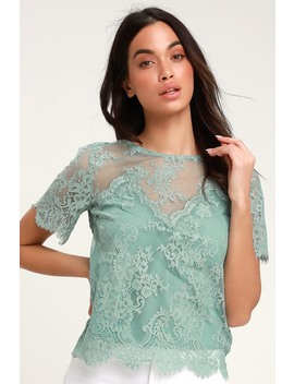 Pure Genius Sheer Sage Green Lace Top by Lulus