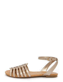 City Classified Nista Bronze Sandals by Lulu's